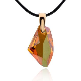 Sterling Silver Genuine Crystal Necklace with 20-inch Leather Cord (China)