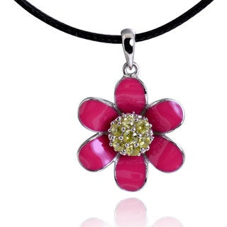 Sterling Silver Enamel Cubic Zirconia Flower Pendant with 28-inch Leather Cord (China)
