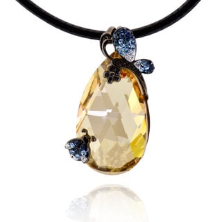 Sterling Silver Black Plated Crystal Pendant with 20-inch Leather Cord