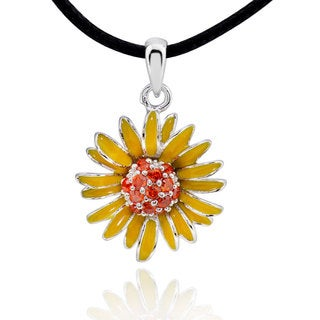 Sterling Silver Enamel Petal Cubic Zirconia Sunflower Pendant with 28-inch Leather Cord (China)