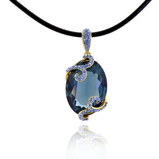 Sterling Silver Goldplated Crystal Pendant with 20-inch Leather Cord