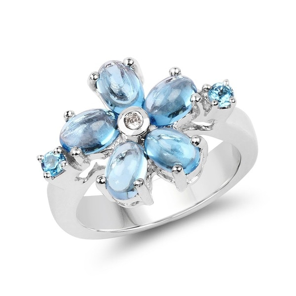 Olivia Leone 3.68 Carat Genuine Swiss Blue Topaz and White Topaz .925 Sterling Silver Ring