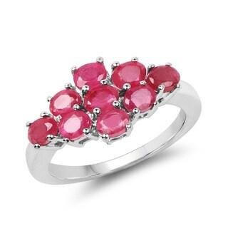 Malaika 2.43 Carat Genuine Ruby .925 Sterling Silver Ring