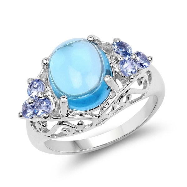 Malaika 4.89 Carat Genuine Swiss Blue Topaz and Tanzanite .925 Sterling Silver Ring