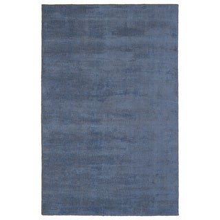 Solid Chic Blue and Brown Hand-Tufted Rug (8'0 x 10'0)