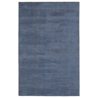 Solid Chic Blue and Brown Hand-Tufted Rug - 5' x 7'9""