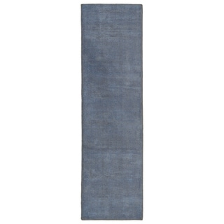 Solid Chic Blue and Brown Hand-Tufted Rug (2'6 x 8'0)