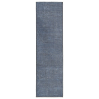 """Solid Chic Blue and Brown Hand-Tufted Rug - 2'3"""" x 8'"""