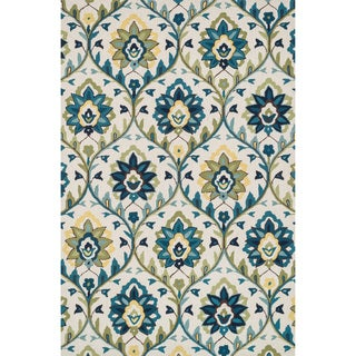 Hand-hooked Charlotte Ivory/ Blue Rug (3'6 x 5'6)