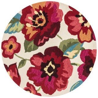 Hand-hooked Charlotte Ivory/ Fuchsia Poppy Rug (3'0 x 3'0)