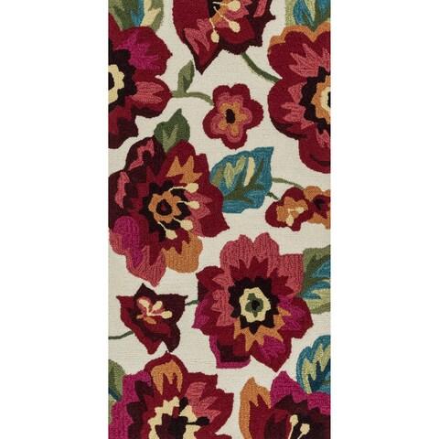 Hand-hooked Charlotte Ivory/ Fuchsia Poppy Rug (2'3 x 3'9) - 2'3 x 3'9