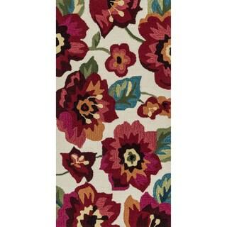 Hand-hooked Charlotte Ivory/ Fuchsia Poppy Rug (2'3 x 3'9)