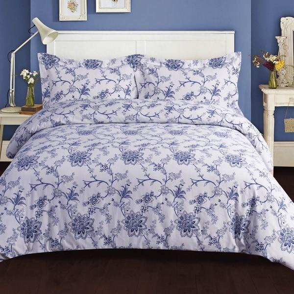 Floral Printed 200-GSM Flannel Oversize 3-piece Duvet Cover Set