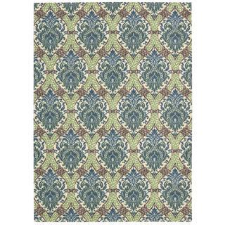 Waverly Treasures Dress Up Damask Blue Jay Area Rug by Nourison (4'10 x 6'6)