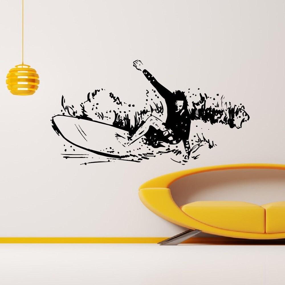 Surfer Taking Wave Surfing Vinyl Wall Art Decal Sticker (...