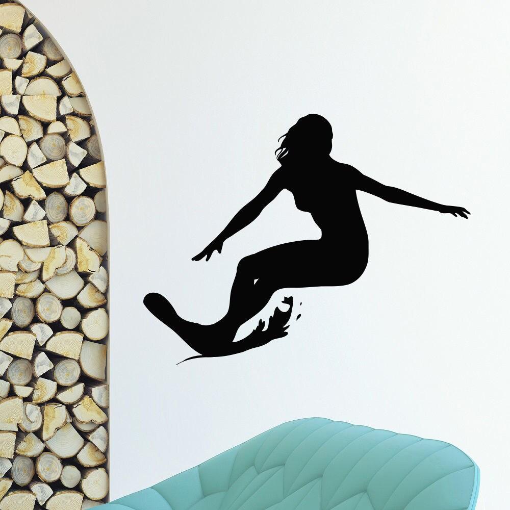 Girl Surfing Surfer Vinyl Wall Art Decal Sticker (35 inch...