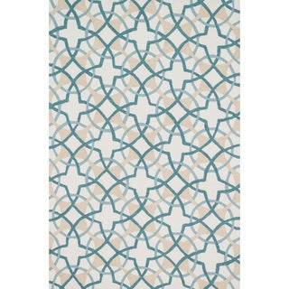 Hand-hooked Charlotte Ivory/ Teal Circle Motif Rug (3'6 x 5'6)