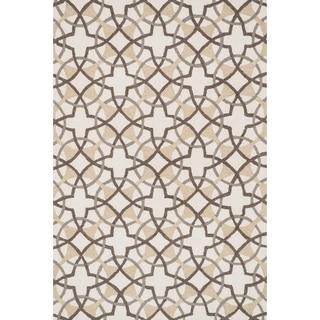 Hand-hooked Charlotte Ivory/ Brown Circle Motif Rug (3'6 x 5'6)