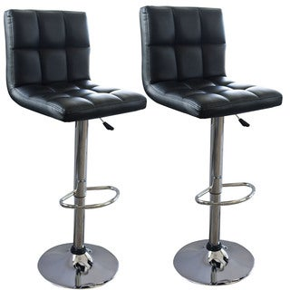 AmeriHome Modern Checker Back Padded Bar Stool (2-piece Set)