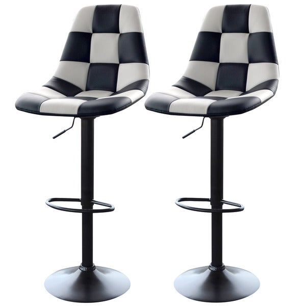 Amerihome White Checkered Racing Bar Chairs 2 Piece Set