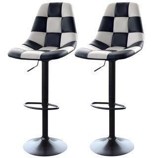 AmeriHome White Checkered Racing Bar Chairs (2-piece Set)