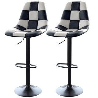 AmeriHome White Checkered Racing Bar Chairs (2-piece Set)