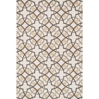 Hand-hooked Charlotte Ivory/ Brown Circle Motif Rug (7'6 x 9'6)