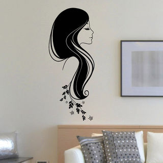 Flowered Hair Vinyl Wall Art Decal Sticker