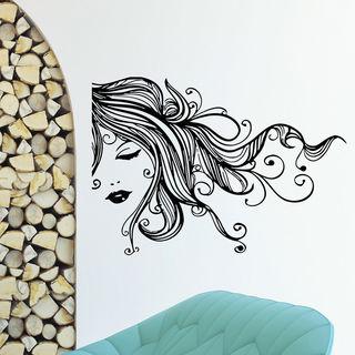 Beautiful Hair Woman Face Vinyl Wall Art Decal Sticker
