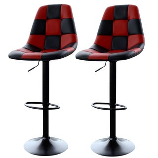 AmeriHome Red Checkered Racing Bar Chairs (2-piece Set)
