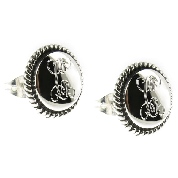 2fd0c436d Handmade Sterling Silver Engraved Round Rope Edge Post Earrings (Mexico)