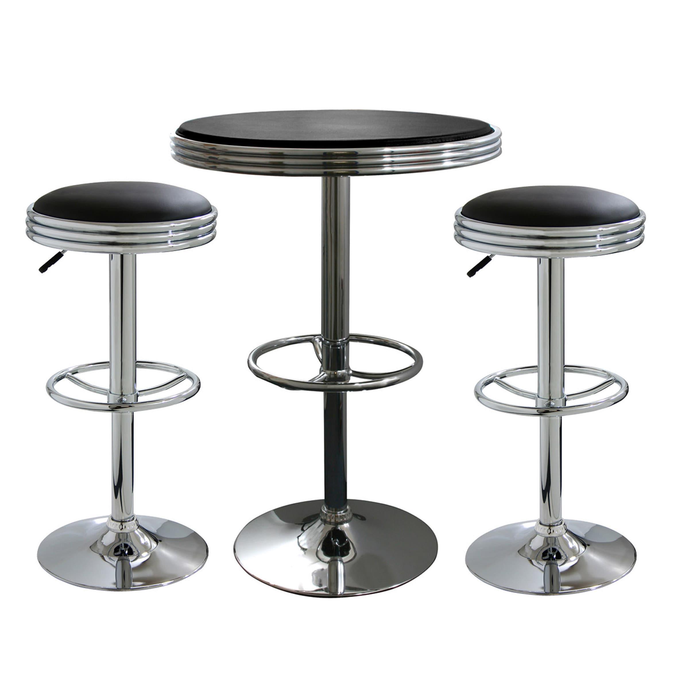 Retro 3-Piece Chrome Bar Stools and Table Set