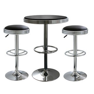 AmeriHome Retro Black Soda Shop Bistro Set (3-piece Set)