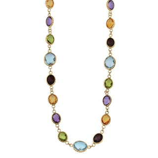 Fremada 14k Yellow Gold and Oval Multi Gemstones Choker Necklace (17 inches)