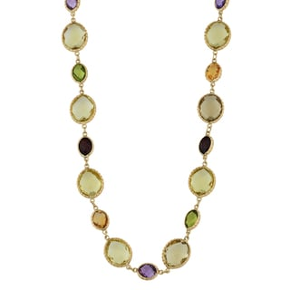 Fremada 14k Yellow Gold and Checkerboard-cut Gemstones Choker Necklace (16.5 inches)