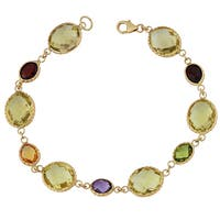Fremada 14k Yellow Gold and Checkerboard-cut Gemstones Bracelet (8 inches)