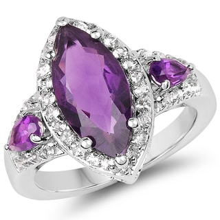 Malaika 3.85 Carat Genuine Amethyst and White Topaz .925 Sterling Silver Ring