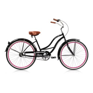 Micargi 3 Speed Tahiti 26-inch Female Black/ Pink Rims Beach Cruiser