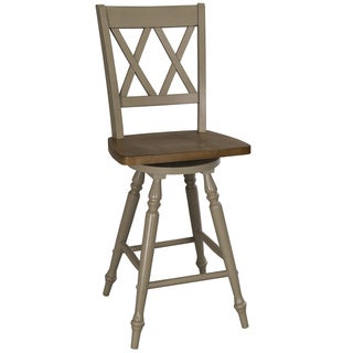 Fresco Taupe and Wood Transitional Double X Back Swivel 24 Inch Barstool