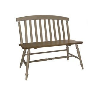 Fresco Taupe and Wood Transitional Slat Back Bench