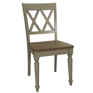 Fresco Taupe and Wood Transitional Double X Back Side Chair