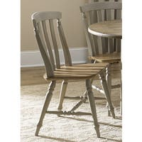 Fresco Taupe and Wood Transitional Slat Back Dining Chair