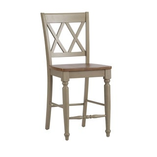 Fresco Taupe and Wood Transitional Double X Back 24 Inch Barstool