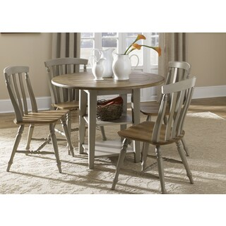 Fresco Taupe and Wood Transitional Drop Leaf Leg Table