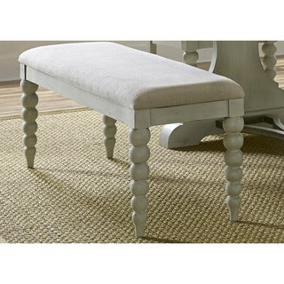 Cottage Harbor Dove Grey Linen Upholstered Bench