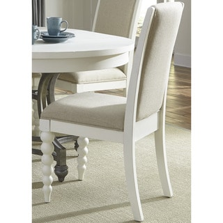 Cottage Harbor White and Linen Upholstered Dining Chair