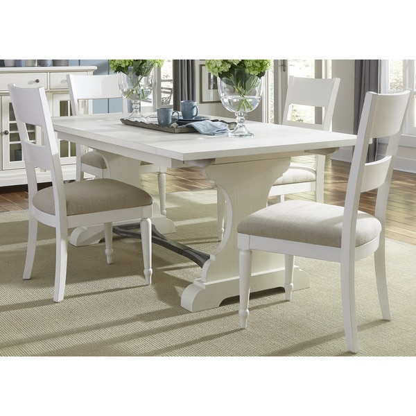 Hayley Dining Room Set: Cottage Harbor White Trestle Dinette Table