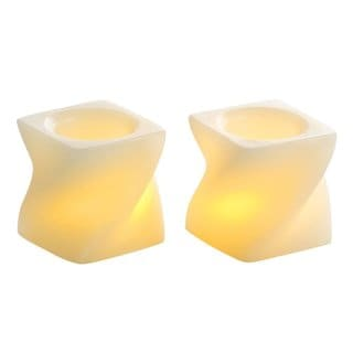 "2"" Mini Twisted Flameless Wax Candles, Cream (Pack of 2)"