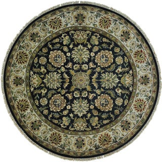 Round Pure Wool Thick and Plush Rajasthan Hand Knotted Rug (7' x 7')