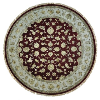 Round Burgundy Rajasthan Wool and Silk Hand Knotted Rug (10'2 x 10'3)